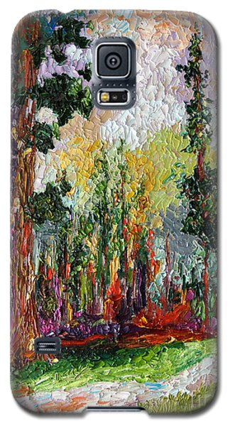 Galaxy S5 Case featuring the painting Sequoia Path National Parks  by Ginette Callaway