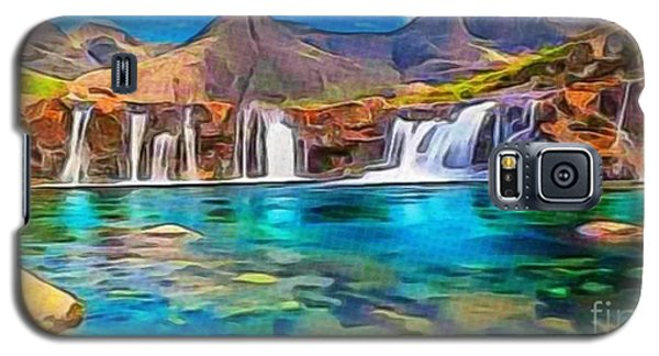 Galaxy S5 Case featuring the digital art Serene Green Waters by Catherine Lott