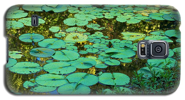 Galaxy S5 Case featuring the photograph Serenity Found - Green Lotus Leaves In Blue Water by Jane Eleanor Nicholas