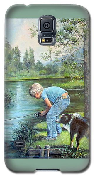 Galaxy S5 Case featuring the painting Seth And Spiky Fishing by Donna Tucker