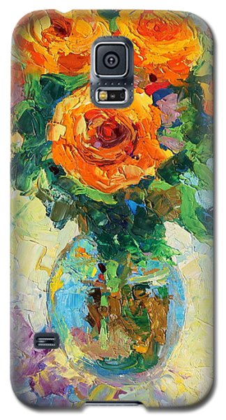 Galaxy S5 Case featuring the painting Seven Yellow Roses In Glass Vase Oil Painting by Thomas Bertram POOLE