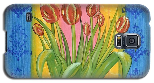 Galaxy S5 Case featuring the painting Shabby Chic Tulips by Cindy Micklos