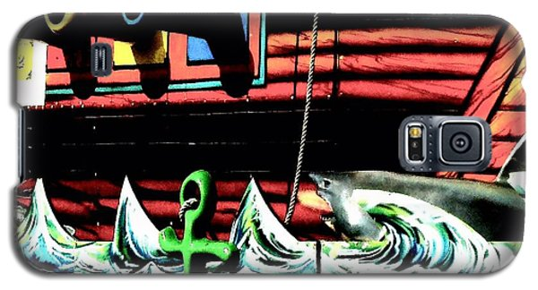 Shark And Pirate Ship Pop Art Posterized Photo Galaxy S5 Case by Marianne Dow