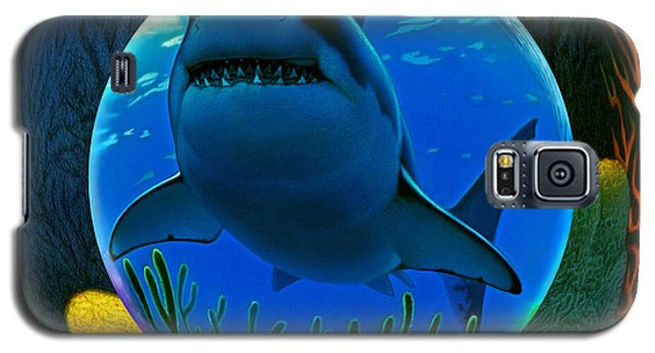 Galaxy S5 Case featuring the digital art Shark World  by Robin Moline