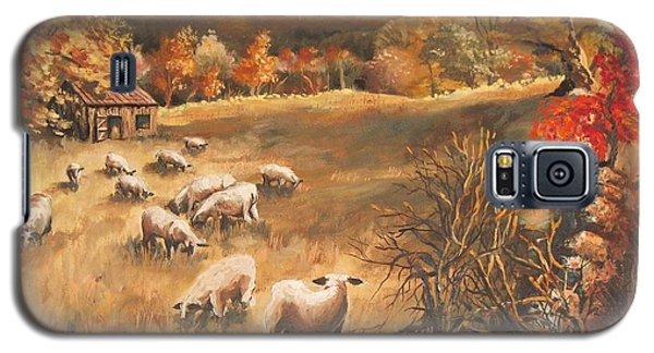 Galaxy S5 Case featuring the painting Sheep In October's Field by Joy Nichols