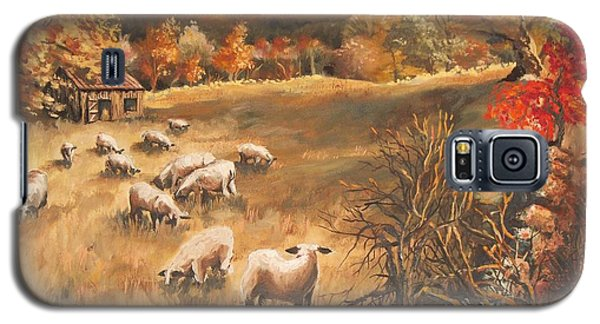 Sheep In October's Field Galaxy S5 Case