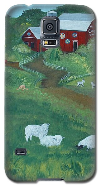 Galaxy S5 Case featuring the painting Sheeps In The Meadow by Virginia Coyle