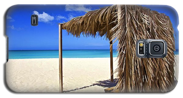Shelter On A White Sandy Caribbean Beach With A Blue Sky And White Clouds Galaxy S5 Case