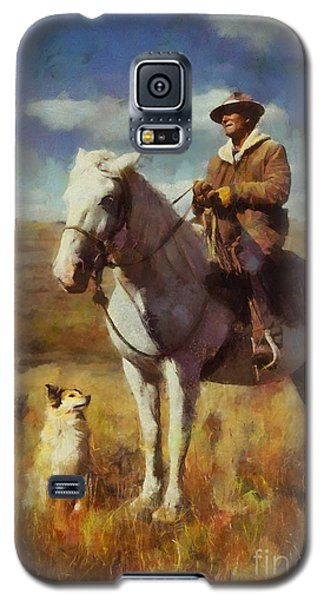 Galaxy S5 Case featuring the painting Shepherd And His Dog by Kai Saarto