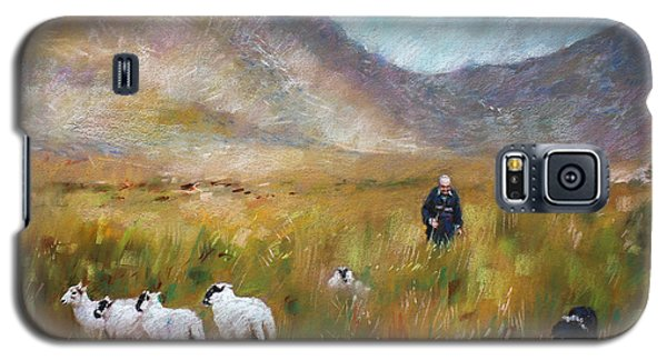 Galaxy S5 Case featuring the drawing Shepherd And Sheep In The Valley  by Viola El