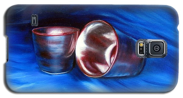 Galaxy S5 Case featuring the painting Shiny Metal Cups Study by LaVonne Hand