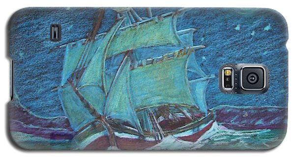 Galaxy S5 Case featuring the drawing Ship At Sea by Joseph Hawkins