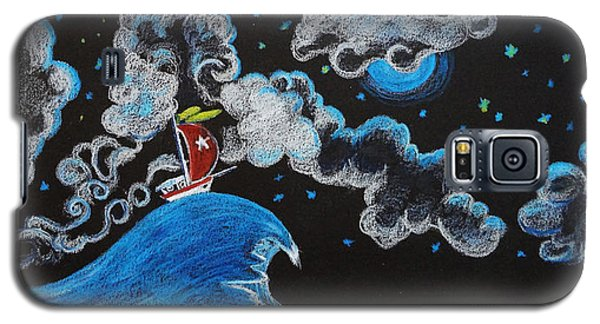 Galaxy S5 Case featuring the drawing Ship Big Wave by Joseph Hawkins