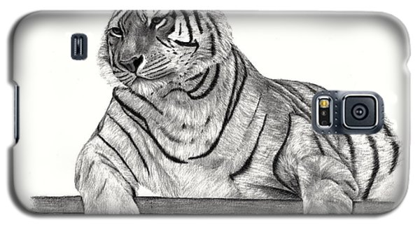 Galaxy S5 Case featuring the drawing Siberian Tiger by Patricia Hiltz