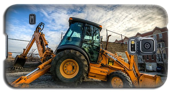 Side View Of A Backhoe At Sunset Galaxy S5 Case