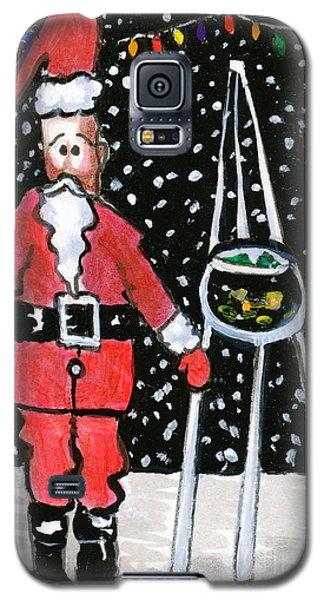 Galaxy S5 Case featuring the painting Sidewalk Santa by Joyce Gebauer
