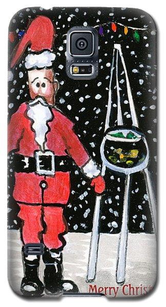 Galaxy S5 Case featuring the painting Sidewalk Santa.card by Joyce Gebauer