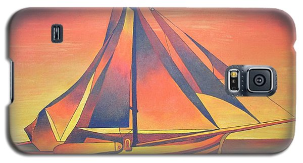 Galaxy S5 Case featuring the painting Sienna Sails At Sunset by Tracey Harrington-Simpson