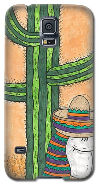 Galaxy S5 Case featuring the painting Siesta Saguaro Cactus Time by Susie Weber