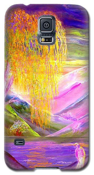 Egret Galaxy S5 Case - Silent Waters, Silver Birch And Egret by Jane Small
