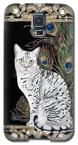 Galaxy S5 Case featuring the painting Silver Egyptian Mau by Leena Pekkalainen