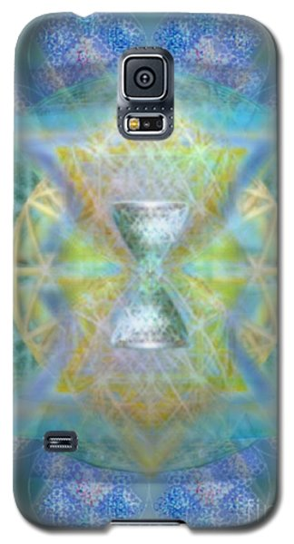 Galaxy S5 Case featuring the digital art Silver Torquoise Chalicell Ring Flower Of Life Matrix by Christopher Pringer