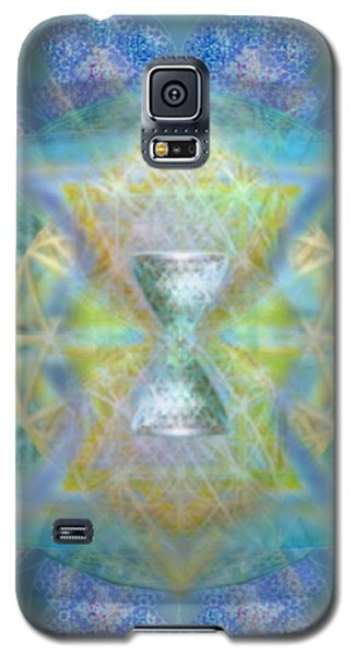Silver Torquoise Chalicell Ring Flower Of Life Matrix Galaxy S5 Case by Christopher Pringer