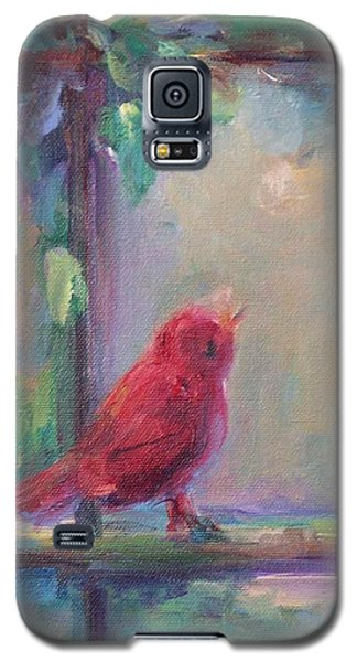 Galaxy S5 Case featuring the painting Sing Little Bird by Mary Wolf