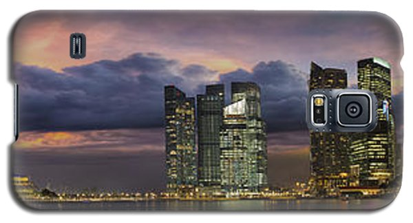 Singapore City Skyline At Sunset Panorama Galaxy S5 Case by JPLDesigns