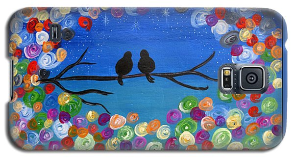 Singing To The Stars Tree Bird Art Painting Print Galaxy S5 Case
