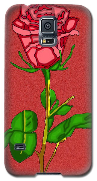 Single Red Rose With Red Background Galaxy S5 Case