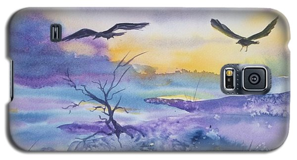 Galaxy S5 Case featuring the painting Sister Ravens by Ellen Levinson