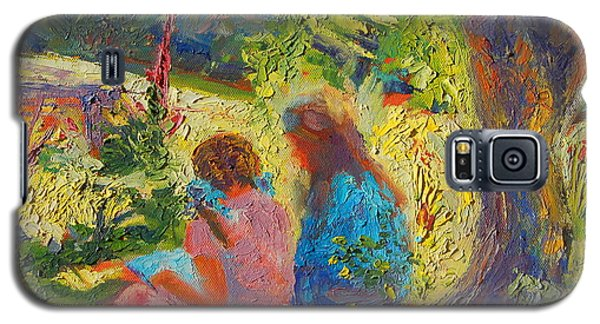 Galaxy S5 Case featuring the painting Sisters Reading Under Oak Tree by Thomas Bertram POOLE