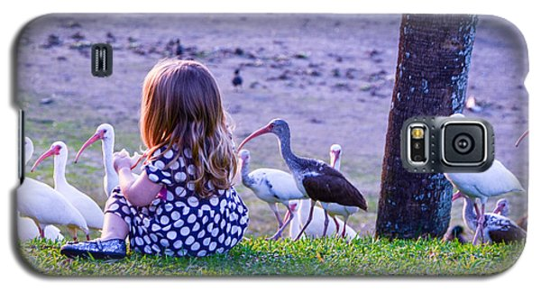 Sitting Girl With Ducks Galaxy S5 Case