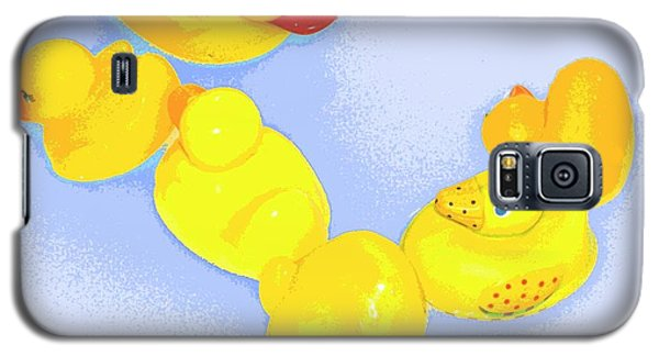 Galaxy S5 Case featuring the digital art Six Rubber Ducks by Valerie Reeves