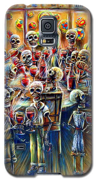 Galaxy S5 Case featuring the painting Skeleton Wine Party by Heather Calderon