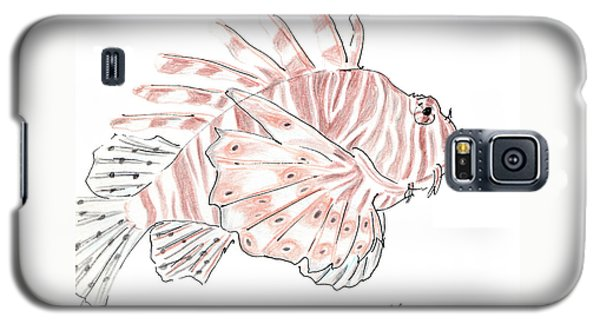 Galaxy S5 Case featuring the drawing Sketch Of Lion Fish At London Aquarium by Jingfen Hwu