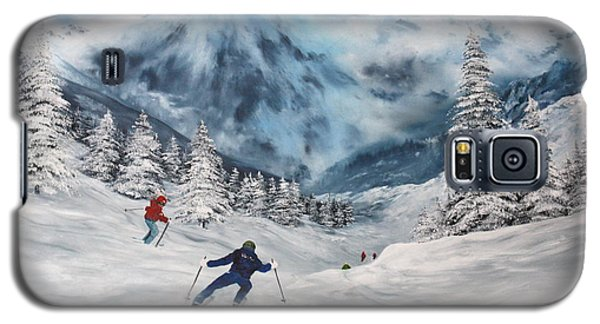 Galaxy S5 Case featuring the painting Skiing In Italy by Jean Walker