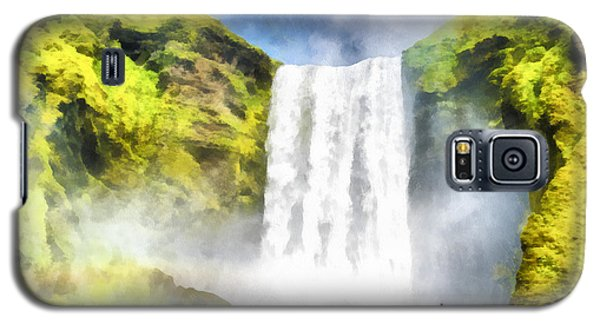 Skogafoss Waterfall Iceland Painting Aquarell Watercolor Galaxy S5 Case