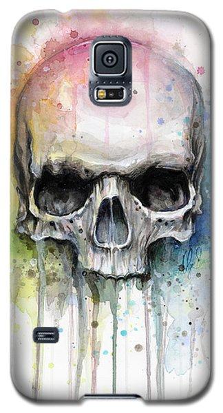 Watercolor Galaxy S5 Case - Skull Watercolor Painting by Olga Shvartsur