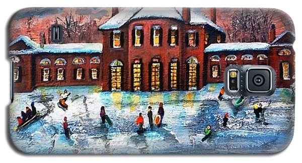 Galaxy S5 Case featuring the painting Sledding At The Gore Estate by Rita Brown