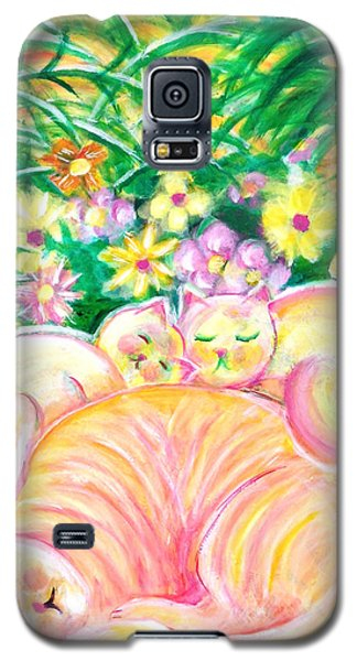 Galaxy S5 Case featuring the painting Sleeping Cats by Anya Heller