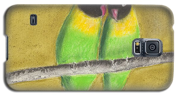 Galaxy S5 Case featuring the pastel Sleeping Love Birds by David Jackson