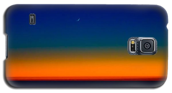 Galaxy S5 Case featuring the photograph Slice Of Moon In The Night Sky by Don Schwartz