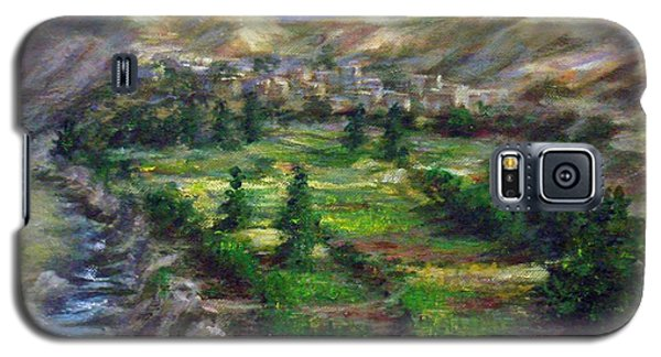 Galaxy S5 Case featuring the painting Village In The Mountain  by Laila Awad Jamaleldin