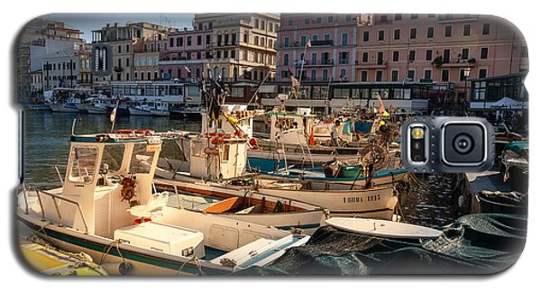 small working fishing boats moored stern first in Anzio harbour Galaxy S5 Case