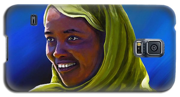 Galaxy S5 Case featuring the painting Smiling Lady by Anthony Mwangi