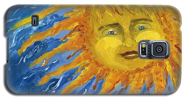 Galaxy S5 Case featuring the painting Smiling Yellow Sun In Blue Sky by Lenora  De Lude
