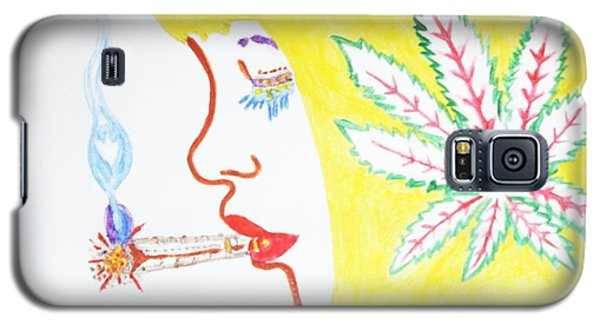 Galaxy S5 Case featuring the painting Smoking Blonde by Stormm Bradshaw