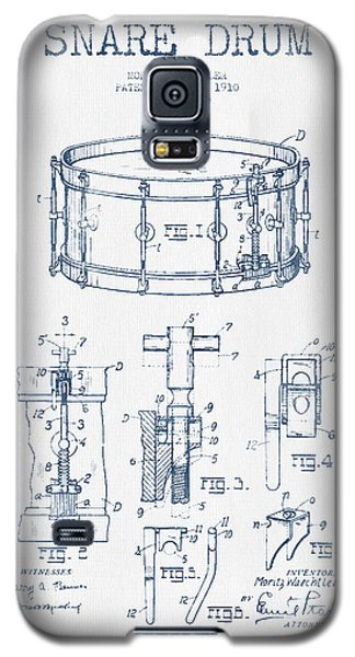 Drum Galaxy S5 Case - Snare Drum Patent Drawing From 1910  - Blue Ink by Aged Pixel